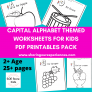 SOE Store Kids Learn Capital Letters in a fun way PDF Downloadable worksheets – Colour, paste pom poms or stickers or do finger painting