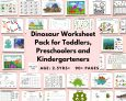 Dinosaur Worksheet Printable Pack for Toddlers, Preschoolers and Kindergarteners