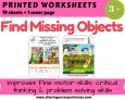 Find missing Objects Activity Worksheets Printables  (Cover page + 19 worksheets)