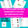 SOE Store Kids Learning Letter Sounds – Phonics (Level 1) PDF Downloadable Worksheets for kids 3.5 yrs above