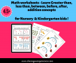 SOE Store Kids Math worksheets – Learn Greater than, less than, between, before, after, addition concepts