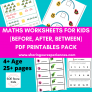 SOE Store Kids Math PDF downloadable worksheets – Learn Greater than, less than, between, before, after, addition concepts