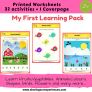 My First Learning pack ( Multiple Activities Set ) Worksheets for kids 2-3 yrs and above – My First Learning Pack (Cover page + 32 activities) # Printables # Worksheets