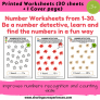 I Spy Numbers Worksheets for kids 3 yrs and above – Number Recognition (Cover page + 30 sheets) # Printables # Worksheets