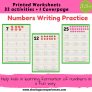 Numbers Writing Practice Worksheets for kids 3.5 yrs and above – Number Writing (Cover page + 32 activities ) # Printables # Worksheets