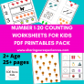 Printable Numbers (1-20) and Counting worksheets for kids pdf downloadable