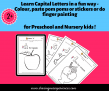 SOE Store Kids Learn Capital Letters in a fun way – Colour, paste pom poms or stickers or do finger painting