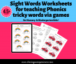SOE Store Kids Sight Words Worksheets for KinderGarten kids PDF format – Teach Phonics tricky words via games