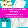 SOE Store Kids Sight Words PDF downloadable Worksheets for KinderGarten kids – Teach Phonics tricky words via games