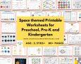 Space themed Printable Worksheets for Preschool, Pre-K and Kindergarten