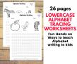 Lowercase Alphabet writing tracing printables worksheets preschool nursery worksheets – PDF